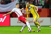 04.09.2017, Warszawa, pilka nozna, kwalifikacje do Mistrzostw Swiata 2018, Polska - Kazachstan, Jan Bednarek (POL), Gafurzhan Suyumbayev (KAZ), Poland - Kazakhstan, World Cup 2018 qualifier, football, fot. Tomasz Jastrzebowski / Foto Olimpik<br /><br />POLAND OUT !!! *** Local Caption *** +++ POL out!! +++<br /> Contact: +49-40-22 63 02 60 , info@pixathlon.de