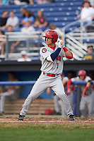 Auburn Doubledays shortstop Ryan Merrill (1) at bat during a game against the Batavia Muckdogs on July 6, 2017 at Dwyer Stadium in Batavia, New York.  Auburn defeated Batavia 4-3.  (Mike Janes/Four Seam Images)