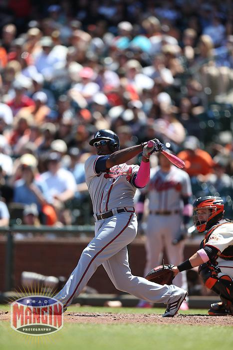 SAN FRANCISCO, CA - MAY 12:  Justin Upton #8 of the Atlanta Braves bats during the game against the San Francisco Giants at AT&T Park on Sunday, May 12, 2013 in San Francisco, California. Photo by Brad Mangin
