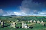 Nine Stones stone circle, Near  Belstone Tor,  Dartmoor, Devon, England.Bronze Age. Also know as the Nine Maidens.