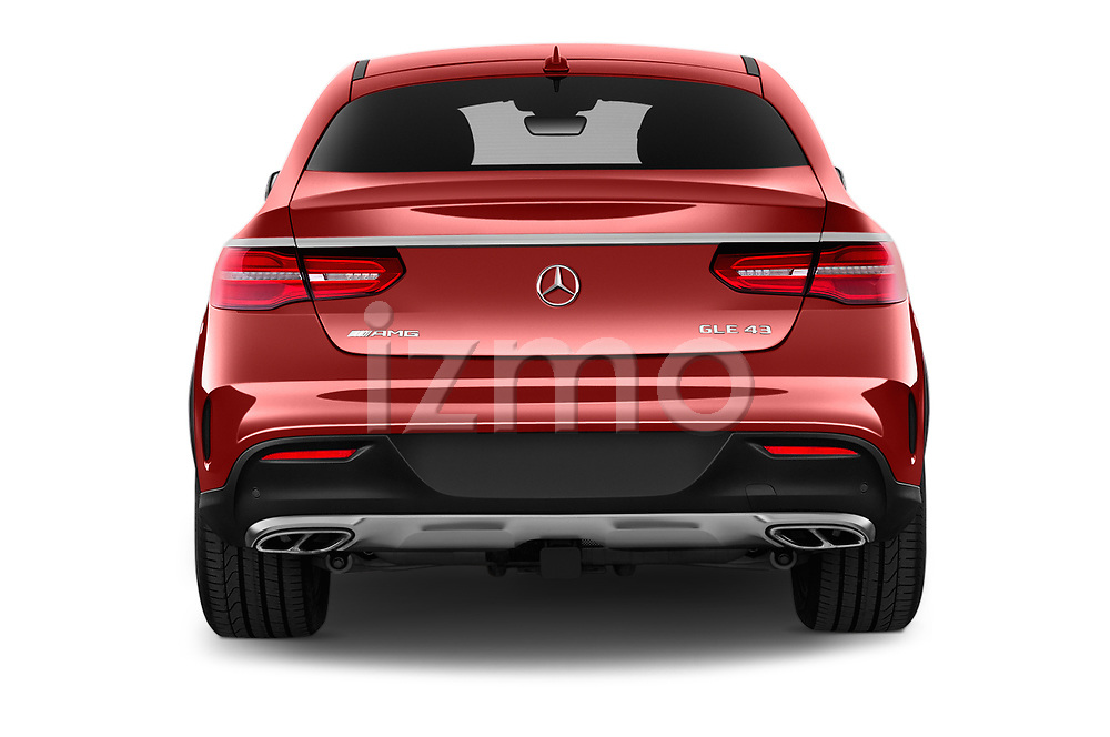 Straight rear view of 2017 Mercedes Benz GLE-Class-Coupe GLE43-AMG 5 Door SUV Rear View  stock images
