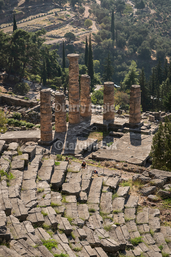 Amphitheater, columns of the Temple of Apollo, Delphoi, Greece