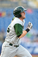 Fort Wayne TinCaps outfielder Nick Schulz (33) runs to first during a game against the Lake County Captains on August 21, 2014 at Classic Park in Eastlake, Ohio.  Lake County defeated Fort Wayne 7-8.  (Mike Janes/Four Seam Images)