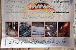 13 April 2013, Karachi, Pakistan: A poster shows the carnage in the Shia dominated Abbas Town, Karachi,  where 40 days earlier a massive car bomb flattened the surrounding apartment blocks killing and injuring scores of both Sunni and Shia residents. Karachi is a city wracked by violence and many fault lines that span Taliban infiltration, mafia rackets, sectarian violence and corruption from politicians and security forces. Picture by Graham Crouch/The Australian
