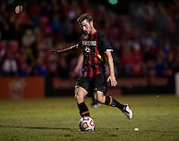 Patrick Mullins (15) of Maryland takes a free kick during the game at Ludwig Field on the campus of the University of Maryland in College Park, MD.  Maryland defeated Pittsburgh, 2-0.