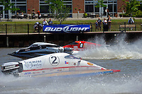 Butch Ott, (#78) takes command on the race after a challenge from Mark Schmerbach, (#6) in turn one. (SST-45 class)
