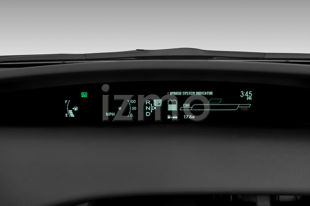 Instrument panel close up detail view of a 2010 Toyota Prius 2