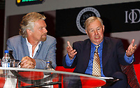 SIR RICHARD BRANSON & SIR TERENCE CONRAN<br /> With concorde model he was given at Institute of Directors Centenary Convention - Living Legends at the Royal Albert Hall, London, UK.<br /> April 30th, 2003<br /> half length table blue suit jacket hands<br /> CAP/PL<br /> ©Phil Loftus/Capital Pictures