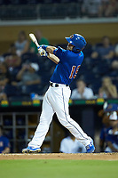 Nick Ciuffo (19) of the Durham Bulls follows through on his swing against the Louisville Bats at Durham Bulls Athletic Park on May 28, 2019 in Durham, North Carolina. The Bulls defeated the Bats 18-3. (Brian Westerholt/Four Seam Images)