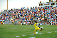 goalkeeper Jenni Branam (23) of Sky Blue FC puts the ball into play. Sky Blue FC defeated the Boston Breakers 2-1 during a Women's Professional Soccer match at Yurcak Field in Piscataway, NJ, on May 31, 2009.