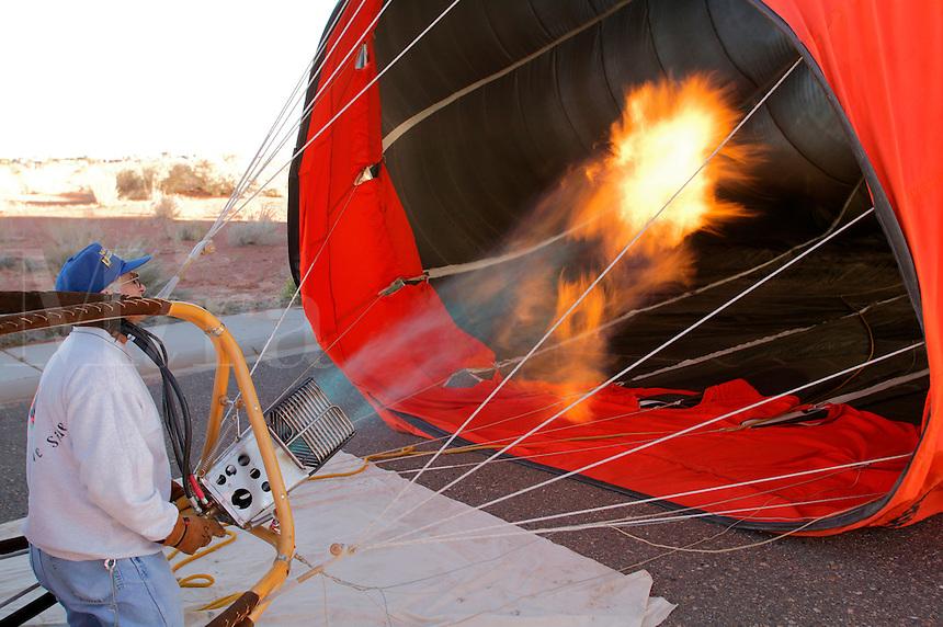 Inflating a hot air ballons at the lake Lake Powell Ballon Regatta, Page, Arizona