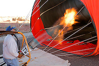 Inflating a hot air ballons at the lake Lake Powell Ballon Regatta, Page, Arizona