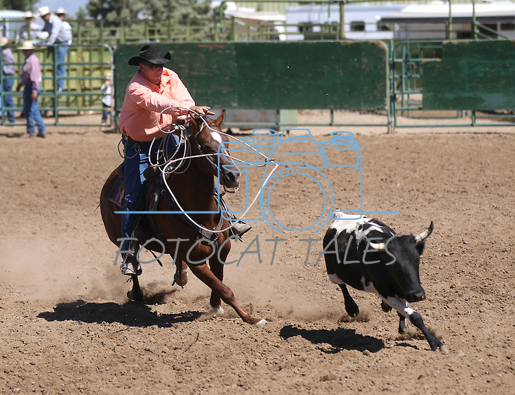Double mugging action at the Minden Ranch Rodeo on Sunday, July 24, 2011, in Gardnerville, Nev. .Photo by Cathleen Allison