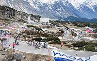breakaway group with the peloton closing in up the Passo San Bernardino (2065m/SUI)<br /> <br /> 104th Giro d'Italia 2021 (2.UWT)<br /> Stage 20 (through Switzerland) from Verbania to Valle Spluga-Alpe Motta (164km)<br /> <br /> ©kramon