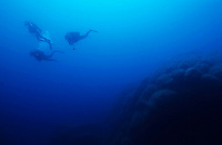 Silhouettes of three scuba divers swimming in the blue waters near a coral reef, Porto Pollo, Corsica, France.