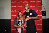 Philadelphia, PA - June 11, 2016: USA defender John Brooks (6) and Heather Mitts during a Copa America Centenario Group A match between United States (USA) and Paraguay (PAR) at Lincoln Financial Field.