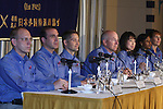 June 28, 2010 - Tokyo, Japan - (L-R) Clayton Anderson, Rick Mastracchio, James P. Dutton Jr., Alan G. Poindexter, Naoko Yamazaki, Stephanie D. Wilson and Dorothy M. Metcalf-Lindenburger speak to the media during a press conference at the Foreign Correspondent Club of Japan in Tokyo on June 28, 2010. On April 5, 2010 seven members entered space on the shuttle Discovery as part of mission STS-131 and returned to Earth on April 20, 2010. Space Shuttle mission STS-131 was notable as the longest yet for Shuttle Discovery.