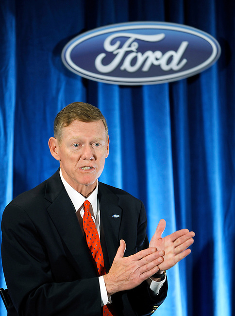 Ford Motor Company President and CEO Alan Mullay fields media questions following the 56th Annual Meeting Thursday, May 12, 2011 in Wilmington, De. (Bloomberg News/Bradley C. Bower)