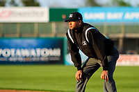 Base umpire Gabriel Alfonzo during a Midwest League game against the Beloit Snappers on May 17, 2018 at Fox Cities Stadium in Appleton, Wisconsin. Beloit defeated Wisconsin 8-7. (Brad Krause/Four Seam Images)