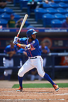St. Lucie Mets shortstop Amed Rosario (1) at bat during a game against the Brevard County Manatees on April 17, 2016 at Tradition Field in Port St. Lucie, Florida.  Brevard County defeated St. Lucie 13-0.  (Mike Janes/Four Seam Images)