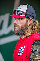 22 August 2015: Washington Nationals outfielder Jayson Werth chats in the dugout prior to a game against the Milwaukee Brewers at Nationals Park in Washington, DC. The Nationals defeated the Brewers 6-1 in the second game of their 3-game weekend series. Mandatory Credit: Ed Wolfstein Photo *** RAW (NEF) Image File Available ***