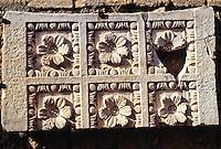 Carthage, Tunisia.  Roman Ruins, Antonin Baths, 2nd. Century A.D.  Stone Work, Flower Design.