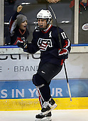 January 30, 2009:  Forward Ryan Bourque (17) of Team USA 18 and under development team celebrates a goal during a game vs. the Rochester Institute of Technology (RIT) at Blue Cross Arena in Rochester, NY.  Team USA defeated R.I.T. 6-3.  Photo copyright Mike Janes Photography 2009Bourque has verbally committed to the University of New Hampshire (HEA); son of former NHL star Ray Bourque.