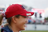 5th September 2021; Toledo, Ohio, USA;  Michelle Wie West of Team USA wears a Happy Birthday sticker on her hat to honor Grace Park the daughter of LPGA golfer Anne Park during the morning Four-Ball competition during the Solheim Cup on September 5th