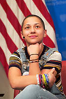 Emma Gonzalez, Student from Marjory Stoneman Douglas High School speaking on changing gun policies,student activism and politics at # Never Again Parkland at the Institute of Politics at Harvard, Cambridge MA 3.20.18