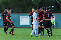 STANFORD, CA - August 19, 2014: Stanford celebrates Bobby Edward's goal during the men's soccer exhibition match vs CSU Bakersfield in Stanford, California.  Stanford won 1-0.
