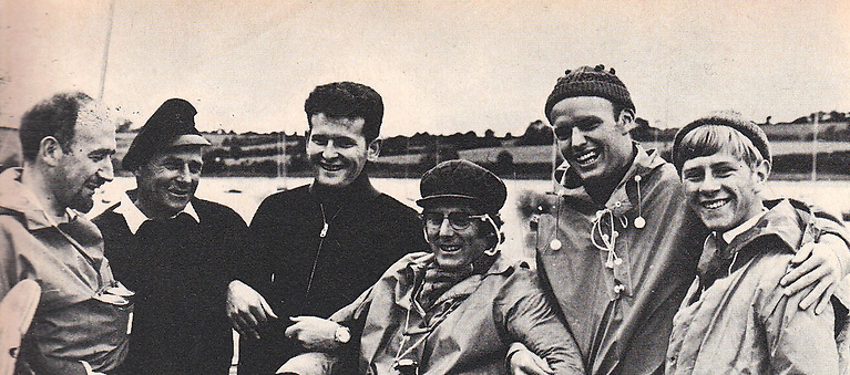 The Helmsman's Championship of October 1970 at Crosshaven rounded out the Quarter Millennial Celebrations of the Royal Cork Yacht Club, and the six finalists were (left to right) Michael O'Rahilly (Dun Laoghaire), the late Somers Payne (Crosshaven), Harold Cudmore Jnr (Crosshaven), Owen Delany (Dun Laoghaire), Maurice Butler (Ballyholme) and the winner, Robert Dix of Malahide – at 17 in 1970, still the youngest-ever winner