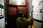 Yulia, Scharfschuetzin der pro-russischen Separatisten, Portrait, Donezk, Ukraine, 10.2014, Yulia, 21-year old sparatist's sniper in the corridor of her unit based at the suburb of Donetsk.  ***HIGHRES AUF ANFRAGE*** ***VOE NUR NACH RUECKSPRACHE***