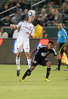 LA Galaxy defender Todd Dunivant (2) goes up to head the ball during the first half of the game between LA Galaxy and the D.C. United at the Home Depot Center in Carson, CA, on September 18, 2010. LA Galaxy 2, D.C. United 1.