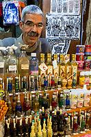 Fes, Morocco.  Shops in the Henna Souk, Fes El-Bali.