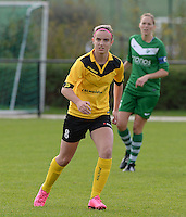 20151024 - ZWEVEZELE , BELGIUM : Ellen Lagrange pictured during a soccer match between the women teams of SKV Zwevezele Ladies and KSOC Maria Ter Heide  , during the eight matchday in the Third League - Derde Nationale season, Saturday 24 October 2015 . PHOTO DAVID CATRY