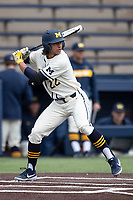 Michigan Wolverines outfielder Jordan Brewer (22) at bat against the Indiana State Sycamores on April 10, 2019 in the NCAA baseball game at Ray Fisher Stadium in Ann Arbor, Michigan. Michigan defeated Indiana State 6-4. (Andrew Woolley/Four Seam Images)
