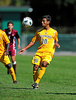18 September 2011: University of Vermont Catamount Forward Juan Peralta, a Senior from Queens, NY, in action against the Harvard University Crimson at Centennial Field in Burlington, Vermont. The Catamounts shut out the visiting Crimson 1-0, earning their 3rd straight victory of the 2011 season. Mandatory Credit: Ed Wolfstein Photo
