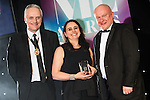 © Joel Goodman - 07973 332324 . 03/03/2016 . Manchester , UK . Michael Hardacre , president of Manchester Law Society , winner Barrister of the Year SALLY HARRISON QC of St Johns Chambers (centre) . The Manchester Legal Awards from the Midland Hotel . Photo credit : Joel Goodman