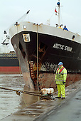 A dock worker at Immingham, on the Humber estuary.