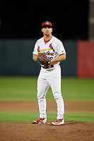 Springfield Cardinals relief pitcher Kevin Herget (16) gets ready to deliver a pitch during a game against the Corpus Christi Hooks on May 30, 2017 at Hammons Field in Springfield, Missouri.  Springfield defeated Corpus Christi 4-3.  (Mike Janes/Four Seam Images)