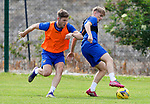 St Johnstone Training...  McDiarmid Park<br />Cammy Ballantyne pictured with Jamie McCart during training ahead of Saturday's opening league game of the season at Ross County.<br />Picture by Graeme Hart.<br />Copyright Perthshire Picture Agency<br />Tel: 01738 623350  Mobile: 07990 594431