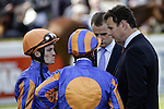 September 05, 2009:  Trainer David Wachman and jockey's Johnny Murtagh and Seamus Heffernan discuss tactics before the race. The Group One Coolmore Fusaichi Pegasus Matron Stakes. Leopardstown Racecourse, Dublin, Ireland.