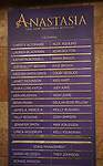 """Lobby cast board for """"Anastasia"""" starring Christy Altomare and Cody Simpson at the Broadhurst Theatre on November 29, 2018 in New York City."""