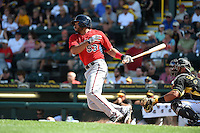 Minnesota Twins outfielder Eric Farris (53) during a Spring Training game against the Pittsburgh Pirates on March 13, 2015 at McKechnie Field in Bradenton, Florida.  Minnesota defeated Pittsburgh 8-3.  (Mike Janes/Four Seam Images)