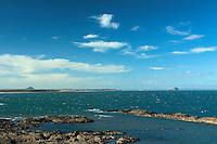 Bass Rock and North Berwick Law from the John Muir Way, Dunbar, East Lothian