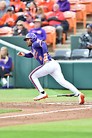 Clemson Tigers second baseman Jordan Greene (9) runs to first base during a game against the Notre Dame Fighting Irish at Doug Kingsmore Stadium on March 11, 2017 in Clemson, South Carolina. The Tigers defeated the Fighting Irish 6-5. (Tony Farlow/Four Seam Images)