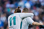 Gareth Bale (L) of Real Madrid celebrates with teammate Karim Benzema during the La Liga 2017-18 match between Real Madrid and Deportivo Alaves at Santiago Bernabeu Stadium on February 24 2018 in Madrid, Spain. Photo by Diego Souto / Power Sport Images