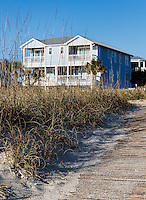 Waterfront beach house along Carolina Beach, North Carolina, USA