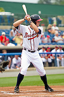 Matt Lipka #5 of the Rome Braves at bat against the Hagerstown Suns at State Mutual Stadium on May 1, 2011 in Rome, Georgia.   Photo by Brian Westerholt / Four Seam Images