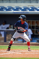 GCL Red Sox shortstop Yomar Valentin (46) squares to bunt during the second game of a doubleheader against the GCL Rays on August 4, 2015 at Charlotte Sports Park in Port Charlotte, Florida.  GCL Red Sox defeated the GCL Rays 2-1.  (Mike Janes/Four Seam Images)